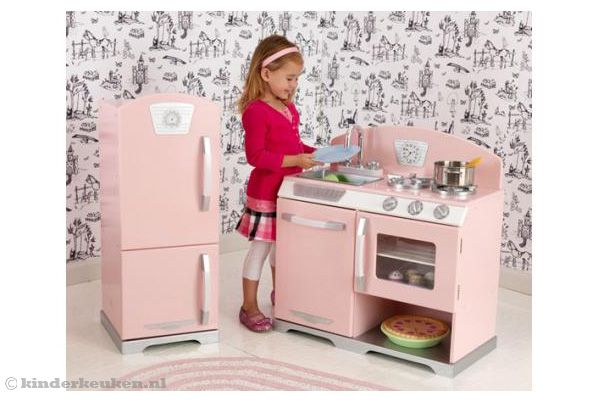 Vintage Keuken Accessoires : Kidkraft keuken roze retro keuken en koelkast.