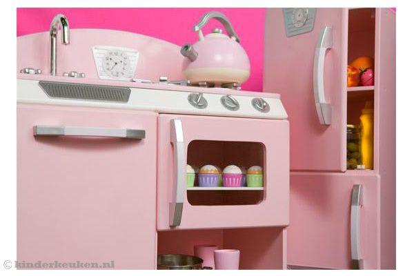Vintage Keuken Roze : Kidkraft keuken roze retro keuken en koelkast.