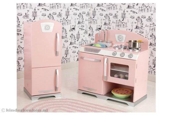 Retro Keuken Accessoires : Kidkraft keuken roze retro keuken en koelkast.