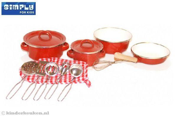 Kidkraft Keuken Rood : Rode pannenset van Simply for Kids.